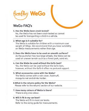 WeGo FAQ'S